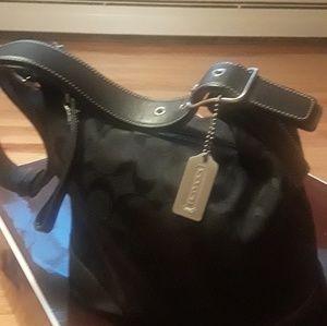 Coach 6347 Black Leather Trim Shoulder Purse